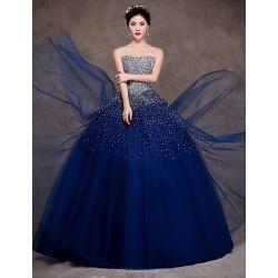 Formal Evening Dress Dark Navy Petite Ball Gown Strapless Floor Length Satin Tulle Stretch Satin