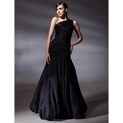 Prom / Formal Evening Dress - Black Plus Sizes / Petite Trumpet/Mermaid One Shoulder Floor-length Taffeta