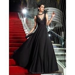 Military Ball / Formal Evening Dress - Black Plus Sizes / Petite A-line V-neck Floor-length Jersey