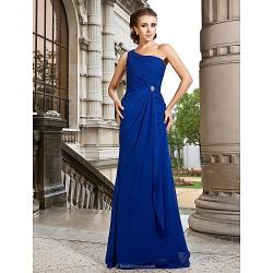 Formal Evening Prom Military Ball Dress Royal Blue Plus Sizes Petite A Line Princess One Shoulder Sweep Brush Train Chiffon