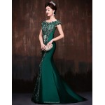 Formal Evening Dress - Dark Green Petite Trumpet/Mermaid Off-the-shoulder Sweep/Brush Train Lace / Satin / Polyester Special Occasion Dresses