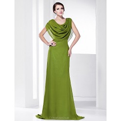 Prom / Military Ball / Formal Evening Dress - Clover Plus Sizes / Petite A-line Cowl / Spaghetti Straps Sweep/Brush Train Chiffon