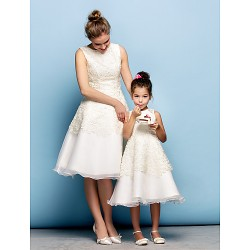 Cocktail Party Dress - Ivory Plus Sizes / Petite A-line Jewel Knee-length Lace / Organza