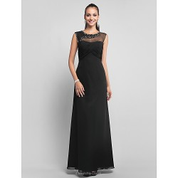 Formal Evening Prom Military Ball Dress Black Plus Sizes Petite Sheath Column Jewel Floor Length Chiffon Tulle