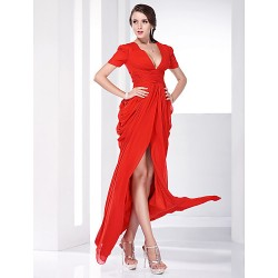 Formal Evening Military Ball Dress Ruby Plus Sizes Petite Sheath Column V Neck Floor Length Chiffon