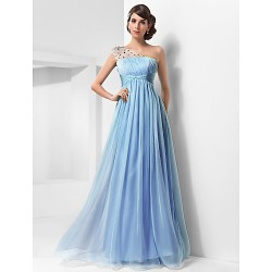 Prom / Military Ball / Formal Evening Dress - Sky Blue Plus Sizes / Petite A-line / Princess One Shoulder Floor-length Chiffon / Tulle