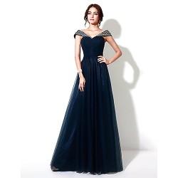 Formal Evening Dress - Dark Navy Plus Sizes / Petite A-line Floor-length