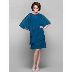 Sheath Column Plus Sizes Petite Mother Of The Bride Dress Ink Blue Knee Length Half Sleeve Chiffon