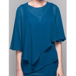 Sheath/Column Plus Sizes / Petite Mother of the Bride Dress - Ink Blue Knee-length Half Sleeve Chiffon Mother Of The Bride Dresses