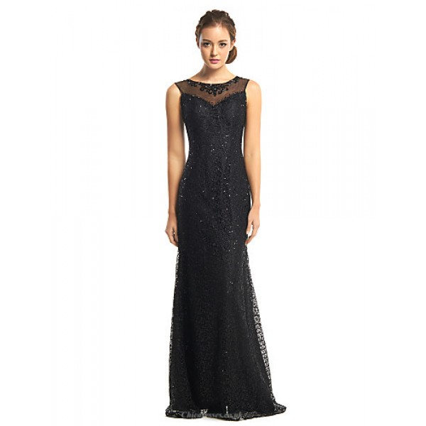 TS Couture Formal Evening Dress - Black Trumpet/Mermaid Scoop Floor-length Tulle / Sequined Special Occasion Dresses