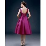 Cocktail Party Dress - Grape Plus Sizes A-line Bateau Knee-length Satin Special Occasion Dresses