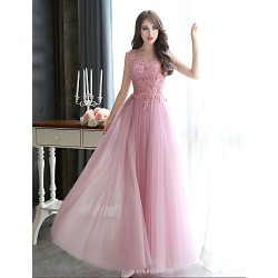 Formal Evening Dress Blushing Pink Plus Sizes Sheath Column Bateau Floor Length Tulle
