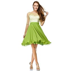 Cocktail Party Dress Clover A Line Scoop Knee Length Chiffon Tulle