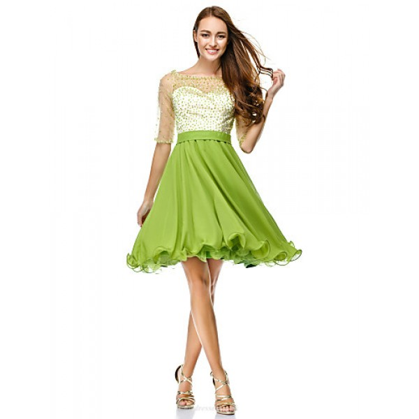 TS Couture Cocktail Party Dress - Clover A-line Scoop Knee-length Chiffon / Tulle Special Occasion Dresses