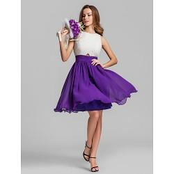 Short Mini Georgette Bridesmaid Dress Multi Color Plus Sizes Petite A Line Jewel