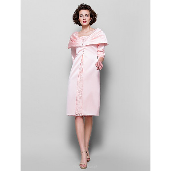 Sheath/Column Plus Sizes / Petite Mother of the Bride Dress - Pearl Pink Knee-length 3/4 Length Sleeve Lace / Satin Mother Of The Bride Dresses