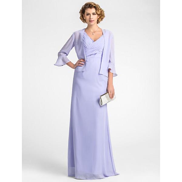 Sheath/Column Plus Sizes / Petite Mother of the Bride Dress - Lavender Floor-length 3/4 Length Sleeve Chiffon Mother Of The Bride Dresses