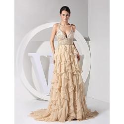 Formal Evening Dress Champagne Plus Sizes Sheath Column V Neck Straps Chiffon