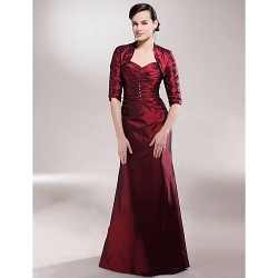 A Line Plus Sizes Petite Mother Of The Bride Dress Burgundy Floor Length Half Sleeve Taffeta