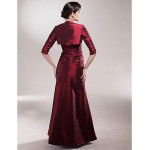 A-line Plus Sizes / Petite Mother of the Bride Dress - Burgundy Floor-length Half Sleeve Taffeta Mother Of The Bride Dresses