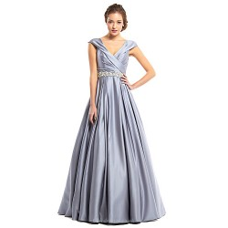Formal Evening Dress Silver A Line V Neck Floor Length Satin