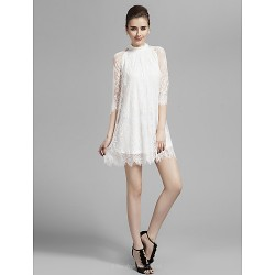Cocktail Party / Prom / Holiday Dress - White Plus Sizes / Petite A-line High Neck Short/Mini Lace