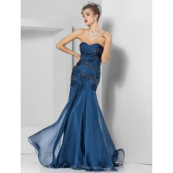 Formal Evening / Prom / Military Ball Dress - Dark Navy Plus Sizes / Petite Trumpet/Mermaid Sweetheart / Strapless Floor-length Chiffon