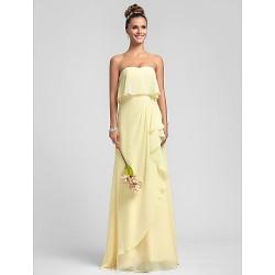 Floor Length Chiffon Bridesmaid Dress Daffodil Royal Blue Ruby Champagne Grape Plus Sizes Petite Sheath Column Strapless