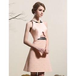 Cocktail Party Dress - Pearl Pink Plus Sizes A-line Jewel Short/Mini Satin