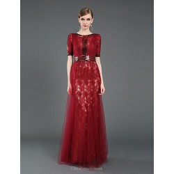 Formal Evening Dress - Burgundy Sheath/Column Jewel Floor-length Lace / Tulle / Sequined / Knitwear