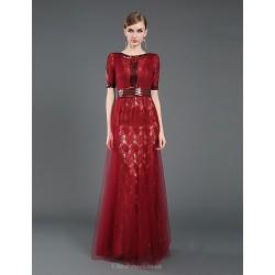 Formal Evening Dress Burgundy Sheath Column Jewel Floor Length Lace Tulle Sequined Knitwear
