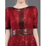 Formal Evening Dress - Burgundy Sheath/Column Jewel Floor-length Lace / Tulle / Sequined / Knitwear Special Occasion Dresses
