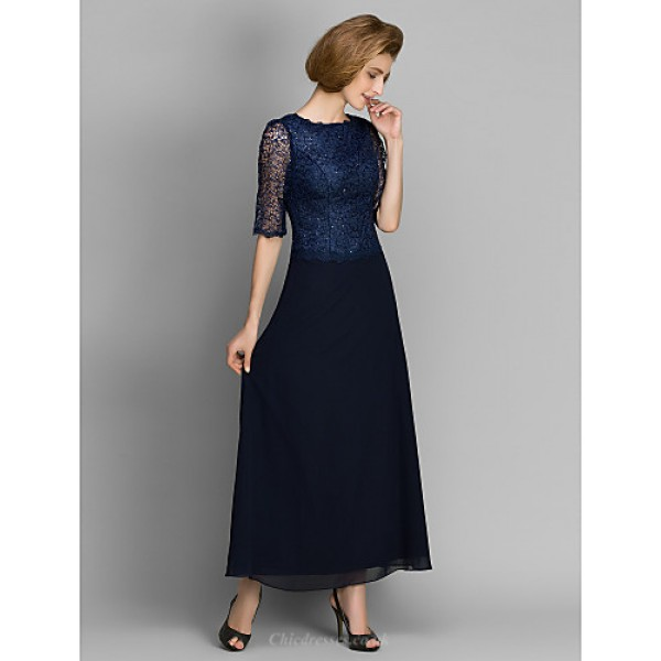Sheath/Column Mother of the Bride Dress - Dark Navy Ankle-length Half Sleeve Chiffon Mother Of The Bride Dresses