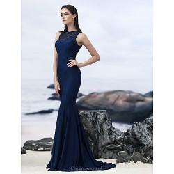 Formal Evening Dress - Dark Navy Trumpet/Mermaid Jewel Sweep/Brush Train Lace