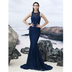 TS Couture Formal Evening Dress - Dark Navy Trumpet/Mermaid Jewel Sweep/Brush Train Lace Special Occasion Dresses