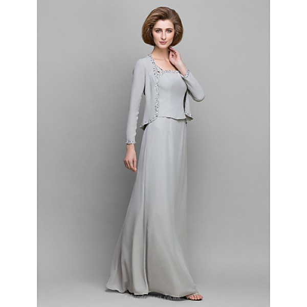 Sheath/Column Mother of the Bride Dress - Silver Floor-length Long Sleeve Chiffon Mother Of The Bride Dresses