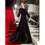 TS Couture Formal Evening / Military Ball Dress - Black Plus Sizes / Petite A-line Jewel Floor-length Velvet Special Occasion Dresses