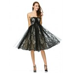 TS Couture Cocktail Party Dress - Black A-line Strapless Knee-length Tulle Special Occasion Dresses