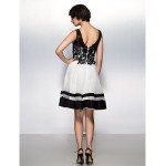 Cocktail Party Dress - Ivory A-line V-neck Knee-length Lace / Organza Special Occasion Dresses