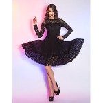 TS Couture Cocktail Party / Holiday Dress - Black Plus Sizes / Petite A-line Queen Anne Knee-length Lace / Chiffon Special Occasion Dresses