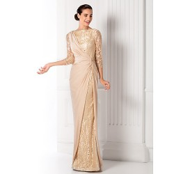 Prom Military Ball Formal Evening Dress Champagne Plus Sizes Petite Sheath Column Bateau Floor Length Jersey Lace
