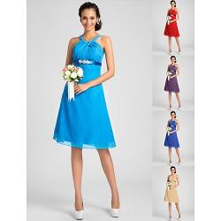 Knee Length Chiffon Bridesmaid Dress Ocean Blue Royal Blue Ruby Champagne Grape Plus Sizes Petite A Line PrincessStraps