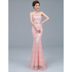 Formal Evening Dress Ruby Pearl Pink Plus Sizes Trumpet Mermaid Strapless Ankle Length Tulle Lace