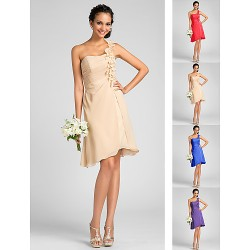 Knee-length Chiffon Bridesmaid Dress - Ruby / Royal Blue / Champagne / Regency Plus Sizes / Petite Sheath/Column One Shoulder