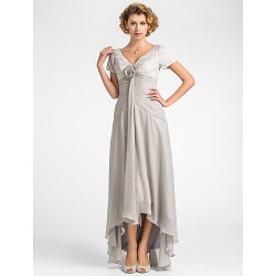 A-line Plus Sizes / Petite Mother of the Bride Dress - Silver Asymmetrical Short Sleeve Lace / Chiffon