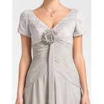 A-line Plus Sizes / Petite Mother of the Bride Dress - Silver Asymmetrical Short Sleeve Lace / Chiffon Mother Of The Bride Dresses