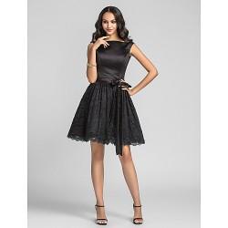 Knee Length Charmeuse Lace Bridesmaid Dress Black Plus Sizes Petite A Line Princess Bateau