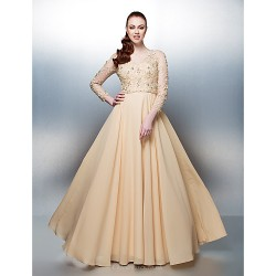 Prom Formal Evening Dress Champagne Plus Sizes Petite A Line Jewel Floor Length Chiffon