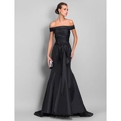Formal Evening Dress Black Plus Sizes Petite Trumpet Mermaid Off The Shoulder Sweep Brush Train Taffeta