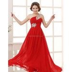 Formal Evening Dress - Clover / Ruby / Pearl Pink / Champagne / Gold / Fuchsia / Candy Pink / Black / Orange Plus Sizes / Petite A-line Special Occasion Dresses